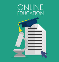 On line education with microscope vector