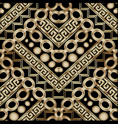 Ornate gold 3d geometric seamless pattern vector