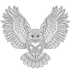 Owl coloring page vector
