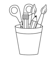 Paint brush scissor and pencil design vector