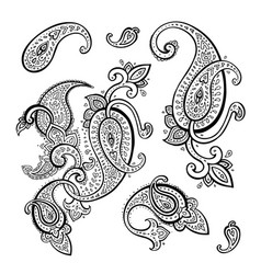 Paisley ethnic ornament vintage set vector