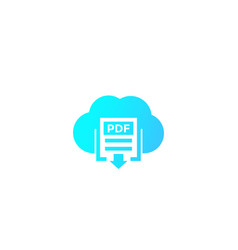 Pdf document download to cloud vector