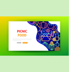 picnic food neon landing page vector image