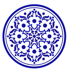 Porcelain flower round vector