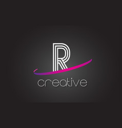 r letter logo with lines design and purple swoosh vector image