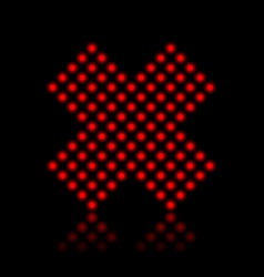 Red neon cancel cross on black vector image vector image