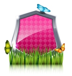 Red shield with flying butterflies by the grass vector image