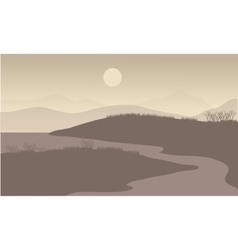 River at night scenery vector