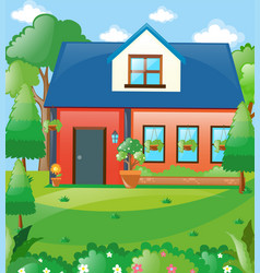 Scene with house in the woods vector