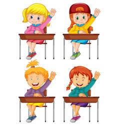 School girls isolated at desks vector