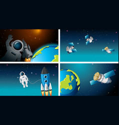 Set different space scenes with astronauts vector