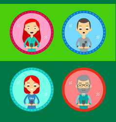 set four characters icons with device vector image