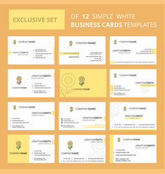 set of 12 flower creative busienss card template vector image