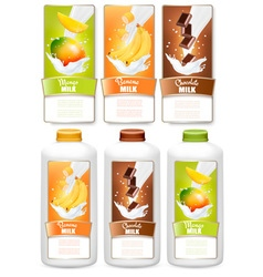 Set of three labels of fruit in milk splashes and vector
