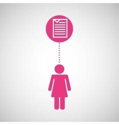 silhouette girl file media icon vector image
