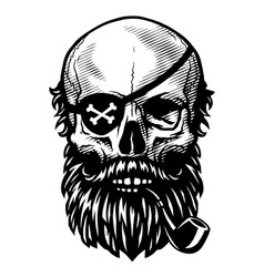 skull of a pirate with a smoking pipe and an eye vector image