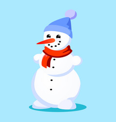 Snowman in blue hat red scarf tied around neck vector