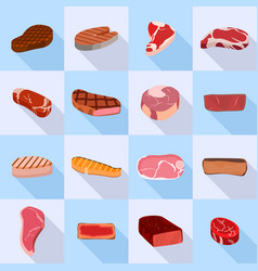 steak icon set flat style vector image