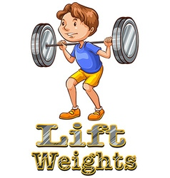 Strong man doing weightlifting vector image