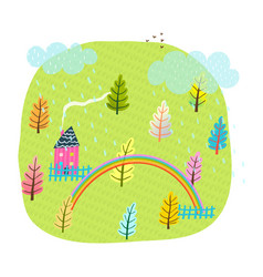Summer house field and trees kids landscape vector