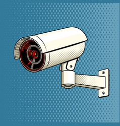 Surveillance camera on the wall pop art vector