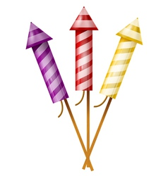 Three colorful fireworks rocket vector image