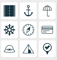 Tourism icons set with bank card camping house vector