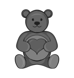 Toy bear icon black monochrome style vector image