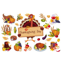 Turkey for thanksgiving day holding wooden vector