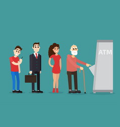 turn queue at the atm vector image