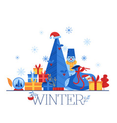 winter - holidays horizontal vector image