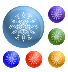 winter snowflake icons set vector image