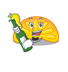 With beer orange jelly candy mascot cartoon vector