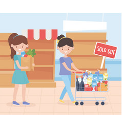 Women with cart and bag food sold out shelves vector