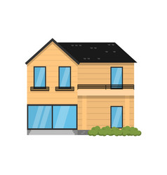 Wooden modern two-story house isolated on white vector