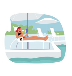 young woman lounging drinking cocktail vector image