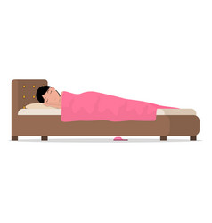 cartoon sleeping woman in bed under blanket vector image vector image