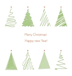Christmas trees set Hand drawing line graphic vector image vector image