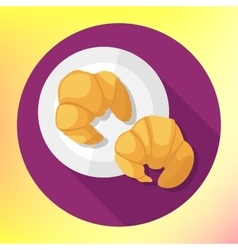 flat style croissant icon vector image vector image