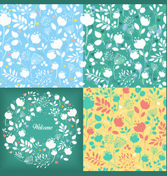 floral seamless and round patterns set vector image vector image