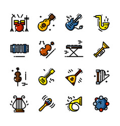 line musical instruments icons vector image vector image