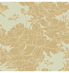 seamless of a outline flowers and leafs vector image vector image
