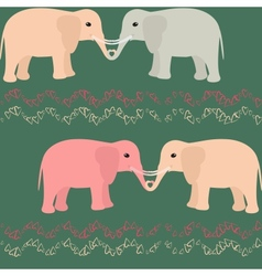 Seamless pattern with elephants and hearts vector image vector image