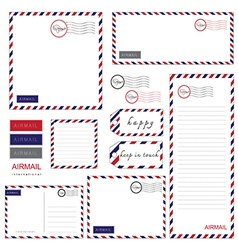 airmail letter set vector image