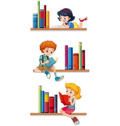 children reading books on shelves vector image