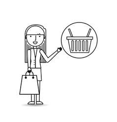 drawing girl shopping with basket buy vector image