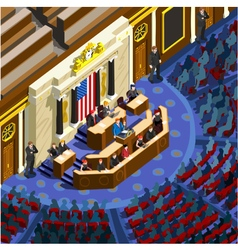 Election Infographic Parliament Hall Us Isometric vector image