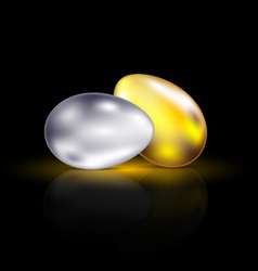 gold and silver eggs vector image vector image