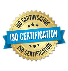 iso certification round isolated gold badge vector image vector image