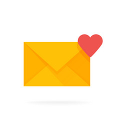 mail envelope icon with hearts email send message vector image